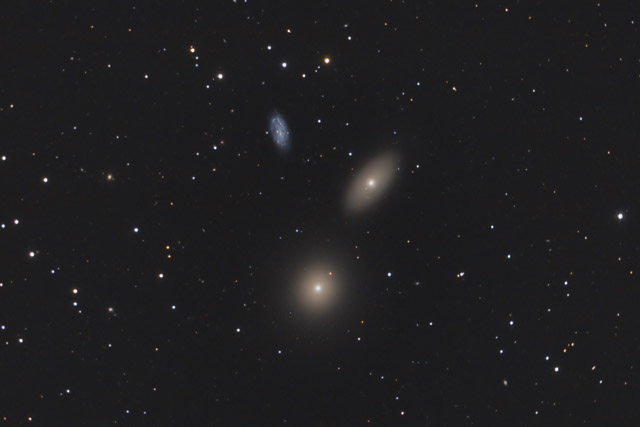 M105, NGC 3389, and NGC 3384 - Another Galaxy Trio in Leo